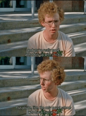Memes, Napoleon Dynamite, and School: andyoure really good  at hookinup with chicks.  Plus you're, like, the only guyat school  who has a mustache Napoleon Dynamite
