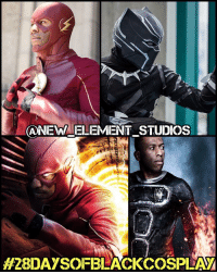 Memes, 🤖, and Elements: ANEWRIELLEMENT STUDIOS  My eighth 28daysofblackcosplay feature goes to @new_element_studios! 🙌🏾 TheFlash, BlackPanther, HumanTorch - this guy puts his all into every cosplay. Be sure to check out his page and give him a follow! -- Also be sure to follow @cosplayofcolor for daily cosplay photography that emphasizes diversity and representation. 👌🏾