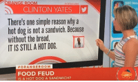 Blackpeopletwitter, Food, and Reason: ANGE ROOM  NBC New  aclintonyates  CLINTON YATES  There's one simple reason why a  hot dog is not a sandwich. Because  without the bread  IT IS STILL A HOT DOG  #ORANGEROOM  FOOD FEUD  IS A HOT DOG A SANDWICH? <p>Keeping it real on #nationalhotdogday (via /r/BlackPeopleTwitter)</p>