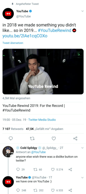 """I really like YouTube's new social media manager. Rewind 2019: * Angehefteter Tweet  YouTube  @YouTube  in 2018 we made something you didn't  like... so in 2019... #YouTubeRewind  youtu.be/2lAe1cqCOXo  Tweet übersetzen  YOUTube Rewind  4,5M Mal angesehen  YouTube Rewind 2019: For the Record 