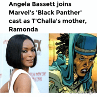 "American Horror Story, Jordans, and Lit: Angela Bassett joins  Marvel's ""Black Panther""  cast as T'Challa's mother,  Ramonda If you thought Marvel's BlackPanther was as lit as it was going to get....think again! The film already features a loaded cast, including Chadwick Boseman, Lupita Nyang'o, Michael B. Jordan, Danai Gurira, Forrest Whitaker and many more. Now, a major addition to the cast has been announced. ...none other than the incomparable AngelaBassett! The actress, currently a show-stopper on American Horror Story, will portray Ramonda, the mother of Wakandan king T'Challa (Chadwick Boseman). She is referred to as Queen Mother. In the Marvel comics, Ramonda becomes stepmother to T'Challa after his mother, N'Yami, died while giving birth to him. She is also the mother of his younger sister, Shuri. After the death of his father, T'Challa thought that his stepmother left Wakanda to be with another man, but she was in fact abducted and sexually abused by a white supremacist. When he learned the truth, T'Challa freed her and brought her back to Wakanda. Are y'all ready? Get ready! The film will be in theaters February 2018. 17thsoulja BlackIG17th"