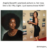 She's amazing! afrokingdom melanin blackbeauty blackisbeautiful africanamerican melaninonfleek melaninpoppin black blackandproud blackpride blackpower unapologeticallyblack blackisbeautiful blackexcellence blackdontcrack: Angela Bassett's yearbook picture vs. her now.  She is 58. Fifty. Eight. I just wanna know HOW?  QUILA  TRON  OCT7  EL FX  T 7  RON  HOTEL  TEQUILA  PATRON  AHS  HOTEL  PATRON  OCT 7  OTEL  @afrokingdom She's amazing! afrokingdom melanin blackbeauty blackisbeautiful africanamerican melaninonfleek melaninpoppin black blackandproud blackpride blackpower unapologeticallyblack blackisbeautiful blackexcellence blackdontcrack