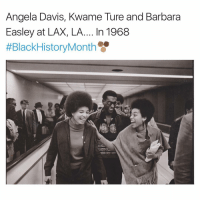 Memes, 🤖, and Lax: Angela Davis, Kwame Ture and Barbara  Easley at LAX, LA.... In 1968  #Black History Month