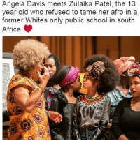 """Africa, Memes, and School: Angela Davis meets Zulaika Patel, the 13  year old who refused to tame her afro in a  former Whites only public school in south  Africa. """"define greatness in a pic"""" ^"""