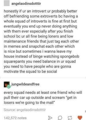 "Friends, Introvert, and Memes: angelaodinsdotttir  honestly if ur an introvert ur probably better  off befriending some extroverts bc having a  whole squad of introverts is fine at first but  eventually you end up never doing anything  with them ever especially after you finish  school bc ur all fine being loners and low  maintenance friends that just tag each other  in memes and snapchat each other which  is nice but sometimes i wanna leave my  house instead of binge watching spongebolb  squarepants you need balance in ur squad  you need to have people who are gonna  motivate the squad to be social  jungwildeandfree  every squad needs at least one friend who will  pull their car up outside and scream ""get in  losers we're going to the mall""  Source: angelaodinsdotttir  142,572 notes The perfect squad formula"