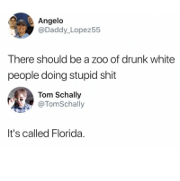 Drunk, Memes, and Shit: Angelo  @Daddy_Lopez55  There should be a zoo of drunk white  people doing stupid shit  Tom Schally  @TomSchally  It's called Florida. @whitepeoplehumor always makes me laugh 😂