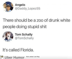 failnation:  I don't think he was joking: Angelo  @Daddy_Lopez55  There should be a zoo of drunk white  people doing stupid shit  Tom Schally  @TomSchally  It's called Florida.  Uber Humor  Bob Loblaw Law Blog failnation:  I don't think he was joking