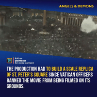 I wonder what must have been going through their heads as they look up to the sky and see the clouds part as that thing goes off. Your thoughts?⠀ -⠀ Follow @cinfacts for more facts: ANGELS & DEMONS  Follow  ONEANA  MI @cinfacts  THE PRODUCTION HAD TO BUILD A SCALE REPLICA  OF ST. PETER'S SQUARE SINCE VATICAN OFFICERS  BANNED THE MOVIE FROM BEING FILMED ON ITS  GROUNDS.  for more content I wonder what must have been going through their heads as they look up to the sky and see the clouds part as that thing goes off. Your thoughts?⠀ -⠀ Follow @cinfacts for more facts