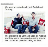Imagine how funny it would be 😂: angelswatchingover.  We need an episode with just Castiel and  Crowley.  My Name's Daan  An Aquarius SPN  Quotes  GUIT  GUIDE  UIDE  The plot could be Sam and Dean go missing  and they spend the episode running around  like concerned parents looking for them Imagine how funny it would be 😂