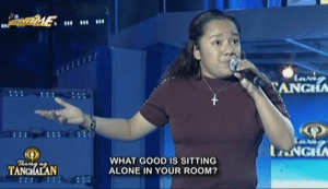 Being Alone, Good, and Filipino (Language): ANGH  WHAT GOOD IS SITTING  ALONE IN YOUR ROOM?  TANG Natapos lang Onanay kumabilang bakod ka na. Bat naman ganon Onay