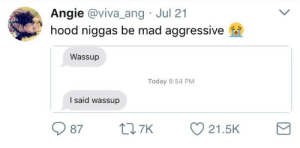 Say It, Today, and Mad: Angie @viva_ang Jul 21  hood niggas be mad aggressive  Wassup  Today 9:54 PM  I said wassup  9987  7K  21.5K I aint gon say it no more