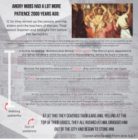 """Bodies , God, and Heaven: ANGRY MOBS HAD A LOT MORE  PATIENCE 2000 YEARS AGO:  12 So they stirred up the people and the  elders and the teachers of the law. They  seized Stephen and brought him before  the Sanhedrin  3 They produced false witnesses, who testified, """"This fellow never stops speaking against this holy place and against the law. 14 For we have heard him say that  this Jesus of Nazareth will destroy this place and change the customs Moses handed down to us."""" 15 All who were sitting in the Sanhedrin looked intently at  Stephen, and they saw that his face was like the face of an angel. Then the high priest asked Stephen, """"Are these charges true?  2 To this he replied: """"Brothers and fathers, listen to me! The God of glory appeared to  our father Abraham while he was still in Mesopotamia, before he lived in Harrarn  nt him to this land where you are now living.5 He gave him no inheritance here, not even enough ground to set his foot on.But God promised him that he and his descendants a  their own, and they will be enslaved and mistreated. 7 But I will punish the nation they serve as slaves,' God said, 'and afterward they will come out of that country and worship me in  3 'Leave your country and your people,' God said, and go to the land I will show you.'[a] 4 """"So he left theland of the Chaldeans and settled in Harran. Aft  would possess the land, even though at that time Abraham had no child.6 God spoke to him in this way: """"For four hundred years your descendants will be strangers in a country not  s place.T  [b] 8 Then he gav  e Abraham the covenant of circumcision.  ircumcised him eight days after his birth. Later Isaac became t  And Abraham became the father of Isaac and c  r of Jacob,and Jacob became the father of the twelve patriarchs.  Because the patriarchs were jealous of Joseph, they sold him as a slave into Egypt.  and rescued him from a  roubles. He gave Joseph wisdo  r over Egypt and all his palace. 11 Then  ine struck all Egypt an  nging  Egypt,"""
