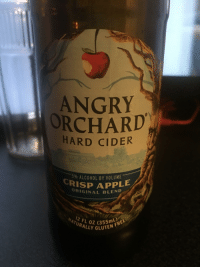 Alcohol: ANGRY  ORCHARD  HARD CIDER  % ALCOHOL BY VOLUME  CRISP APPLE  ORIGINAL BLEND  12  FL0Z (355RE  URALLY GLUTE  L)