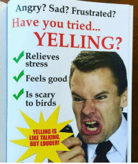 """Club, Tumblr, and Birds: Angry? Sad? Frustrated?  Have you tried  YELLING?  Relieves  stress  Feels good  Is scar  to birds  YELLING IS  LIKE TALKING  BUT LOUDER! <p><a href=""""http://laughoutloud-club.tumblr.com/post/173401821982/it-works"""" class=""""tumblr_blog"""">laughoutloud-club</a>:</p>  <blockquote><p>It works!</p></blockquote>"""