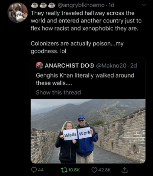 Dank, Flexing, and Lol: angryblkhoemo -1o  They really traveled halfway across the  world and entered another country just to  flex how racist and xenophobic they are  Colonizers are actually poison...my  goodness. lol  ANARCHIST DO@ @Makno20 2d  Genghis Khan literally walked around  these walls  Show this thread  Walls Work  10.6K  42.8K Don't trust no colonizers by DnasStreets MORE MEMES