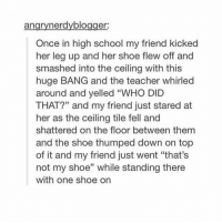 "Memes, School, and Teacher: angrynerdyblogger  Once in high school my friend kicked  her leg up and her shoe flew off and  smashed into the ceiling with this  huge BANG and the teacher whirled  around and yelled ""WHO DID  THAT?"" and my friend just stared at  her as the ceiling tile fell and  shattered on the floor between them  and the shoe thumped down on top  of it and my friend just went ""that's  not my shoe"" while standing there  with one shoe on  35 That's not my shoe"