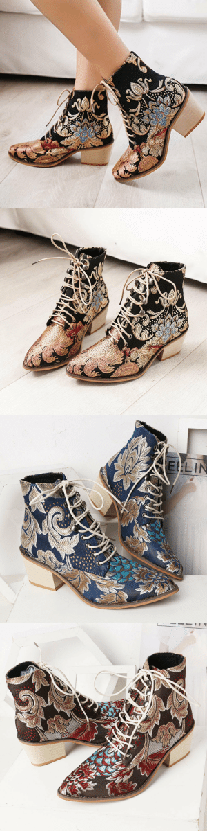 angryzombiekitten:  Women Pointed Toe Embroidered Lace Up Block Heel Short BootsCheck out HERE20% OFF coupon code: tumblr-0506: angryzombiekitten:  Women Pointed Toe Embroidered Lace Up Block Heel Short BootsCheck out HERE20% OFF coupon code: tumblr-0506