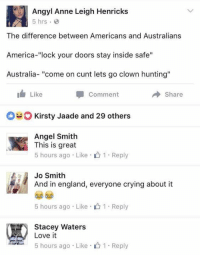 """America: Angyl Anne Leigh Henricks  5 hrs  The difference between Americans and Australians  America-""""lock your doors stay inside safe""""  Australia  come on Cunt lets go clown hunting  I Like  Comment  Share  O Kirsty Jaade and 29 others  Angel Smith  This is great  5 hours ago Like 1 Reply  Jo Smith  And in england, everyone crying about it  5 hours ago Like 1. Reply  Stacey Waters  A Love it  5 hours ago Like 1 Reply"""