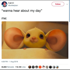 "Via, Day, and Aug: ani  Follow  @unlikelylani  ""wanna hear about my  day""  me:  4:58 PM-1 Aug 2018  55,883 Retweets 116,180 Likes This is me in a nutshell via /r/wholesomememes https://ift.tt/2LJ3Uhf"