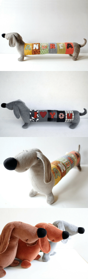 Cute, Tumblr, and Animal: ANI handmadegift-ideas:    Personalized Dachshund Puppy, Long Plush Dog stuffed animal, plush toy, personalized stuffed animal    This cute long puppy can be customized with your name. The puppy is a perfect fellow, decoration to the nursery, or he can sit in your car's rear window instead of a bobble dog.  https://www.etsy.com/listing/204914570/personalized-dachshund-puppy-long-plush