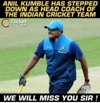 Anil Kumble stepped down 😔😔: ANIL KUMBLE HAS STEPPED  DOWN AS HEAD COACH OF  THE INDIAN CRICKET TEAM  Cricket  S Shots  WE WILL MISS YOU SIR Anil Kumble stepped down 😔😔