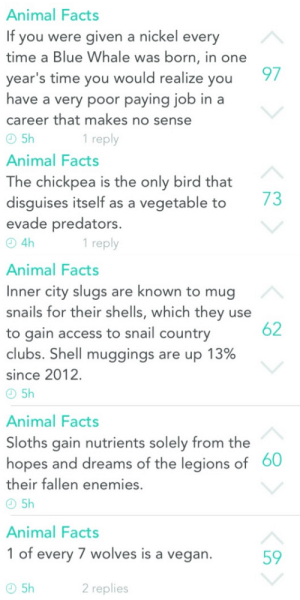 Facts, Vegan, and Access: Animal Facts  If you were given a nickel ever  time a Blue Whale was born, in one  year's time you would realize you  have a very poor paying job in a  career that makes no sense  97  1 reply  Animal Facts  The chickpea is the only bird that  disguises itself as a vegetable to/3  evade predators  4h  Animal Facts  Inner city slugs are known to mug  snails for their shells, which they use  to gain access to snail country  clubs. Shell muggings are up 13%  since 2012  1 reply  62  Animal Facts  Sloths gain nutrients solely from the  hopes and dreams of the legions of  their fallen enemies.  60  Animal Facts  1 of every 7 wolves is a vegan  59  2 replies