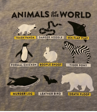 Animals, Trash, and Panda: ANIMALS WORLD  THE  TRASH PANDA DANGER NOODLE SEA FLAP FLAP  FORMAL CHICKEN BOOPLE SNOOT  TIGER PONY  MURDER LOG  LEATHER BIRD  DEATH FLOOF |