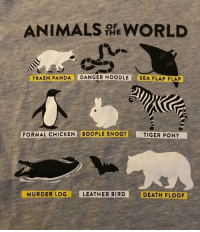 Amazon, Animals, and Memes: ANIMALS WORLD  THE  TRASH PANDA DANGER NOODLE SEA FLAP FLAP  FORMAL CHICKEN BOOPLE SNOOT  TIGER PONY  MURDER LOG  LEATHER BIRD  DEATH FLOOF positive-memes: Last time we donated $70 to ACLU. This time International Animal Rescue (https://www.internationalanimalrescue.org/) has many projects around the world where they save animals. The Orangutan Rescue, the Armenia Bear Rescue etc.  I decided to launch a campaign where proceedings from  this ANIMALS OF THE WORLD  t-shirt will go to IAR.  Next week I'll post an update how much was donated :)   ANIMALS OF THE WORLD  or  AMAZON link .