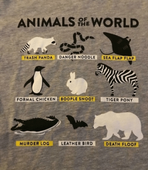 positive-memes:  This wholesome shirt…: ANIMALS WORLD  THE  TRASH PANDA DANGER NOODLE SEA FLAP FLAP  FORMAL CHICKEN BOOPLE SNOOT  TIGER PONY  MURDER LOG  LEATHER BIRD  DEATH FLOOF positive-memes:  This wholesome shirt…