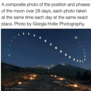 animatedamerican:  photos-of-space:Moon Pattern … wait, something's not right with the caption here. That can't be the same time each day, that's not how moonrise times work – moonrise at the new moon and at the full moon are almost twelve hours apart.Okay, I have googled the image and found a more precise explanation: this is the calculated position of the moon at intervals of 24 hours and 41 minutes, thus capturing the way the time of moonrise drifts backward over the course of the lunar month. Further, this composite represents the 28-day cycle but actually took a year to capture, owing to weather difficulties.Still an amazing composite photo, and deserves proper credit.: animatedamerican:  photos-of-space:Moon Pattern … wait, something's not right with the caption here. That can't be the same time each day, that's not how moonrise times work – moonrise at the new moon and at the full moon are almost twelve hours apart.Okay, I have googled the image and found a more precise explanation: this is the calculated position of the moon at intervals of 24 hours and 41 minutes, thus capturing the way the time of moonrise drifts backward over the course of the lunar month. Further, this composite represents the 28-day cycle but actually took a year to capture, owing to weather difficulties.Still an amazing composite photo, and deserves proper credit.