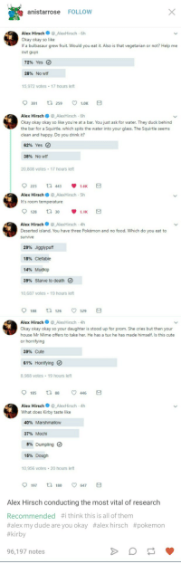 Bulbasaur, Cute, and Dude: anistarrose FOLLOW  Alex HirschAlexHirsch 6h  Okay okay so like  If a bulbasaur grew fruit. Would you eat it. Also is that vegetarian or not? Help me  out guys  72% Yes O  28%  No wtf  15,972 votes 17 hours left  9301  259  1.0K  Alex HirschAlexHirsch 6h  Okay okay okay so like you're at a bar. You just ask for water. They duck behind  the bar for a Squirtle, which spits the water into your glass. The Squirtle seems  clean and happy. Do you drink it?  62% Yes  38%  No wtf  20,808 votes 17 hours left  Alex HirschAlexHirsch 5h  It's room temperature  9128乜30 1.1K  Alex Hirsch_AlexHirsch-4h  Deserted island. You have three Pokémon and no food. Which do you eat to  survive  29% Jigglypuff  18% Clefable  14% Mudkip  39% Starve to death  10,687 votes 19 hours left  9188 126 ㅇ 529  Alex HirschAlexHirsch-4h  Okay okay okay so your daughter is stood up for prom. She cries but then your  house Mr Mime offers to take her. He has a tux he has made himself. Is this cute  or horrifying  39% Cute  61% Horrifying  8,988 votes 19 hours left  9105 88 ㅇ 446  Alex Hirsch@_AlexHirsch-4h  What does Kirby taste like  40% Marshmallow  37% Mochi  8% Dumpling。  15% Dough  10,956 votes 20 hours left  9197 180 ㅇ 647  Alex Hirsch conducting the most vital of research  Recommended #ithinkthis is all of them  #alex my dude are you okay #alex hirsch #pokemon  #kirby  96,197 notes Horrifying post found on tumblr.