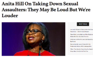 femestella: Since her days testifying for Clarence Thomas' confirmation hearings, Anita Hill has become a fierce advocate for sexual assault survivors. The professor recently gave the commencement speech at Wellesley College and discussed how sexual assault deniers enable men to keep doing what they're doing. Read it here : Anita Hill On Taking Down Sexual  Assaulters: They May Be Loud But We're  Louder  MOST READ  Leonardo DiCaprio's Dating Habits Are Gros  People Qut-And For Good Reason  'Good Girls: Loving Beth and Rio's Relations  Makes Me Feel Like a Bad Feminist  5 Women on What It's Like to Be Raped by  Boyfriend  Reconciling My Love of Drake With His  Problematic History With Underage Girls  When They See Us: Everything You Need t  Know About the Central Park Five femestella: Since her days testifying for Clarence Thomas' confirmation hearings, Anita Hill has become a fierce advocate for sexual assault survivors. The professor recently gave the commencement speech at Wellesley College and discussed how sexual assault deniers enable men to keep doing what they're doing. Read it here