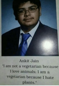 """Animals, Love, and Memes: Ankit Jain  """"1 am not a vegetarian because  I love animals: I am a  vegetarian because I hate  plants."""" 1 Like = 1 Respect"""