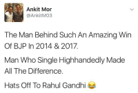 The MAN Behind Amazing Win 😂😬😂 rvcjinsta elections political politics: Ankit Mor  AnkitM03  The Man Behind Such An Amazing Win  Of BJP In 2014 & 2017.  Man Who Single Highhandedly Made  All The Difference  Hats Off To Rahul Gandhi The MAN Behind Amazing Win 😂😬😂 rvcjinsta elections political politics