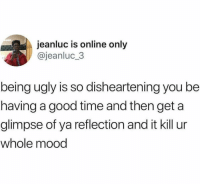 Mood, Ugly, and Good: anluc is online only  @jeanluc_3  being ugly is so disheartening you be  having a good time and then get a  glimpse of ya reflection and it kill ur  whole mood Meirl