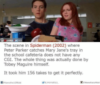 Anna, Memes, and SpiderMan: ANNA ACTI?  The scene in Spiderman (2002) where  Peter Parker catches Mary Jane's tray in  the school cafeteria does not have any  CGI. The whole thing was actually done by  Tobey Maguire himself.  It took him 156 takes to get it perfectly.  Fact, official  /Wanna Wanna Fact  WannaFact official Idk how true this is but....even thinking about it....it's pretty cool batman superman superhero captainamerica cartoon thor anime comics avengers hulk flash spongebob igers iphoneasia photooftheday videogames picoftheday spiderman instahub followme instagood picoftheday dc movies selfie instadaily cool