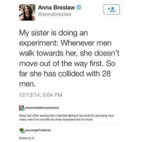 Anna, Run, and Okay: Anna Breslaw  @annabreslaw  My sister is doing an  experiment: Whenever men  walk towards her, she doesn't  move out of the way first. So  far she has collided with 28  men.  12/13/14, 5:04 PM  moremetalthanyourmom  Okay but after seeing this I started doing it too and it's amazing how  many men I've run into be they expected me to move  鬼youcangofindatree  Gotta try it Men 🤔
