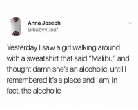 "Anna, Party, and Saw: Anna Joseph  @babyy_loaf  Yesterday l saw a girl walking around  with a sweatshirt that said ""Malibu"" and  thought damn she's an alcoholic, until l  remembered it's a place and l am, in  fact, the alcoholic When you party too much everything reminds you of alcohol 😂"