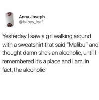 "Anna, Saw, and Girl: Anna Joseph  @babyy_loaf  Yesterday l saw a girl walking around  with a sweatshirt that said ""Malibu"" and  thought damn she's an alcoholic, until I  remembered it's a place and l am, in  fact, the alcoholic Just landed back in the states!"