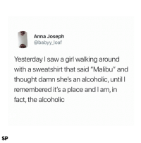 """😂: Anna Joseph  @babyy_loaf  Yesterday l saw a girl walking around  with a sweatshirt that said """"Malibu"""" and  thought damn she's an alcoholic, until I  remembered it's a place and Iam, in  fact, the alcoholic  SP 😂"""