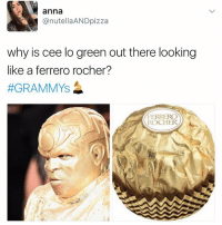 (@dogsbeingbasic): anna  @nutella AND pizza  why is cee lo green out there looking  like a ferrero rocher?  #GRAMMYS  FERRERO  ROCHER (@dogsbeingbasic)