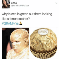 Anna, Dank, and 🤖: anna  @nutellaAND pizza  why is cee lo green out there looking  like a ferrero rocher?  #GRAMMYS  FERRERO  ROCHER