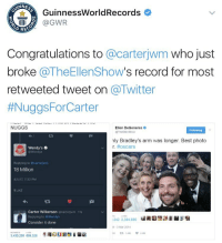 A tweet asking Wendy's for free chicken nuggets is now the most retweeted tweet on Twitter, topping Ellen Degeneres 😳👌 https://t.co/Ygu7HvkCio: ANNE  GuinnessWorldRecords  IIIII (a GWR  Congratulations to  @carterjwm who just  broke  @TheEllenShow  s record for most  retweeted tweet on  a Twitter  #NuggsFor Carter  NUGGS  Ellen DeGeneres  Following  @TheEllenShow  nly Bradley's arm was longer. Best photo  r. #oscars  Wendy's o  Replying to carterjwm  18 Million  4/517, 7:32 PM  1 LIKE  Carter Wilkerson  @carter wm 11s  Replying to @Wendys  242 2,384,695  Consider it done  3 Mar 2014  ta 3 AM  3,430.255 899.328 A tweet asking Wendy's for free chicken nuggets is now the most retweeted tweet on Twitter, topping Ellen Degeneres 😳👌 https://t.co/Ygu7HvkCio