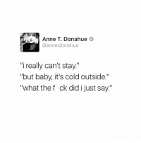 "😂😂😂 (@feministwild): Anne T. Donahue  annetdonahue  ""i really can't stay.""  ""but baby, it's cold outside.""  ""what the f ck did i just say."" 😂😂😂 (@feministwild)"