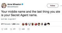 Memes, Middle Name, and 🤖: Anne Wheaton .  @AnneWheaton  Follow  Your middle name and the last thing you ate  is your Secret Agent name  5:47 AM 5 Apr 2017  477 Retweets 1,960 Likes  3.7K  477  2.0K Aaron Peanut Butter? That isn't very intimidating. 👍👍👍
