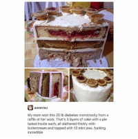 Baked, Fucking, and Ironic: annerisu  My mom won this 25 lb diabetes monstrosity from a  raffle at her work. That's 3 layers of cake with a pie  baked inside each, all slathered thickly with  buttercream and topped with 12 mini pies. fucking  incredible
