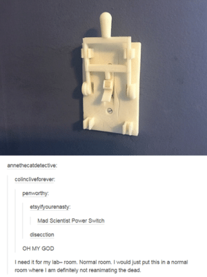 Power, Mad, and Switch: annethecatdetective:  colincliveforever  penworthy  etsyifyourenasty  Mad Scientist Power Switch  disecction  I need it for my lab- room. Normal room. I would just put this in a normal Mad Scientist Power Switch