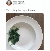 Memes, Twitter, and Annie: Annie McGrath  @AnnieMcTweet  This is forty five bags of spinach why is this so accurate 😂 (@anniemctweet on Twitter)