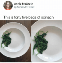 Annie, Relatable, and Spinach: Annie McGrath  @AnnieMcTweet  This is forty five bags of spinach what even is spinach???