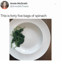 Memes, Annie, and Kale: Annie McGrath  @AnnieMcTweet  This is forty five bags of spinach This never happens to Kale... just saying'